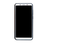 Smartphone With Black Screen Isolated On White Background.