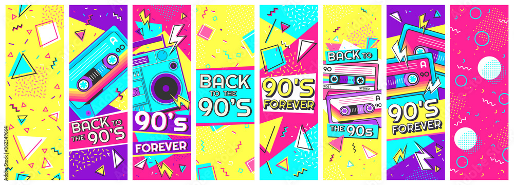 Fototapeta Retro 90s banner. Nineties forever, back to the 90s and pop memphis background banners vector illustration set. Trendy fashion nineties, decoration party 90s