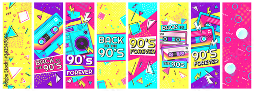 Fototapeta Retro 90s banner. Nineties forever, back to the 90s and pop memphis background banners vector illustration set. Trendy fashion nineties, decoration party 90s obraz