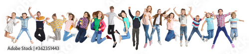 Fotografija Collage with photos of jumping children on white background