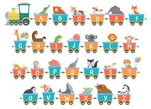 Alphabet Train With Animals. Cartoon Animal Illustration In Van, Education Abc Letter For Children School Vector