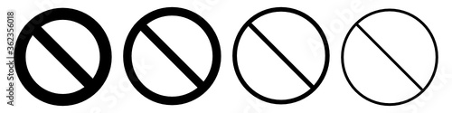 "Fotografie, Obraz Set of black ""no symbol"". Prohibition sign"