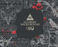 Alchemy Background In Vintage Style. Artistic Illustration On Alchemical Theme With Mystical Hand-drawn Sketches, Handwritten Scribbles, Red Blots And Place For Text On The Black Background