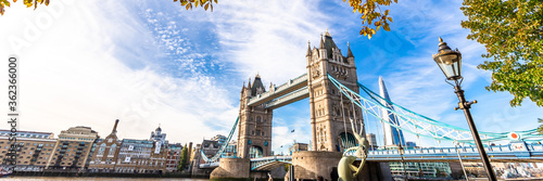 Fototapeta Tower Bridge in London, UK, United Kingdom. Web banner in panoramic view. obraz