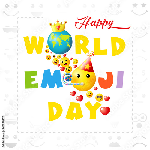 Fototapeta Happy world emoji day creative square congrats. Isolated abstract graphic design template. Smile icons and bright text. Vector sign. Cute funny colorful symbol in cartoon style. White background. obraz
