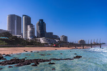 Umhlanga Beach And Beachfront Buildings During Summer