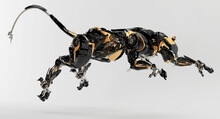 Futuristic Hunting Panther Unit. Jumping Black-orange Cyber Cat 3d Rendering