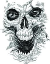 Skull Black And White Psychedelic Print Vector Illustration