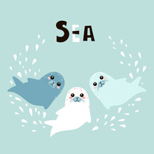Cute Cartoon Seals With Letter...