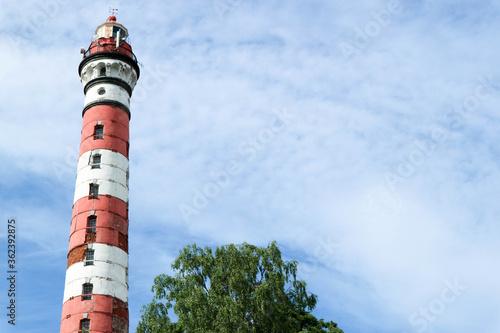 Fototapeta Old Osinovetsky lighthouse on the coast of the ladoga lake