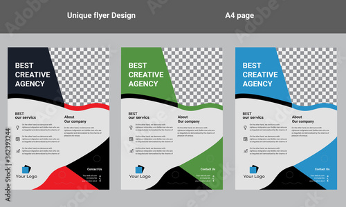 flyer design template vector design. Layout template in A4 size Canvas Print