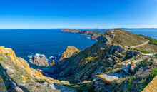 Panoramic View Of The Island Of Monteagudo From The Lighthouse Located In Montefaro Island, Both Are Part Of The Atlantic Islands Of Galicia National Park