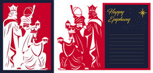 Laser Cutting Navity Template. Three Wise Men Manger Card Design. 3 Magic Kings Bringing Gifts To Jesus. Die Cut Art Design. Happy Epiphany Day Card. Vector Illustration.