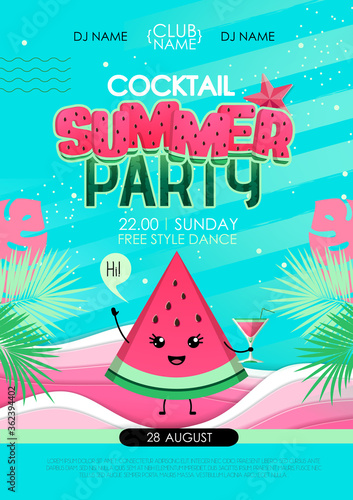 Fotomural Summer cocktail party poster with watermelon and tropic leaves