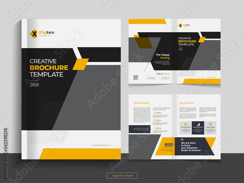 Clean bi fold brochure design template with modern, minimal and abstract design in A4 format Wallpaper Mural