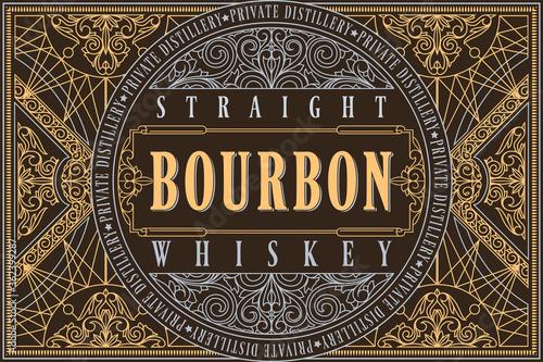 Photo Bourbon whiskey - ornate vintage decorative label