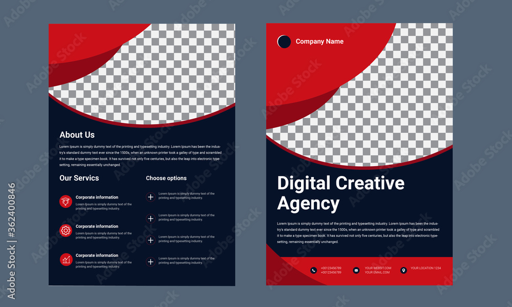 Fototapeta Vector Brochure Flyer design Layout template, size A4, Front page and back page, infographics. Easy to use and edit.