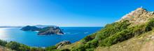 Panoramic View Of The Island Of San Martiño, With The Faro Da Cies In The Upper Right Corner And The Faro Da Porta In The Lower Half, Both Located In The Montefaro Island (in Galego Isla A Do Faro).