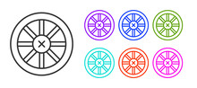 Black Line Old Wooden Wheel Icon Isolated On White Background. Set Icons Colorful. Vector.