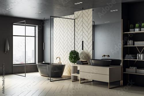 Modern wooden bathroom interior