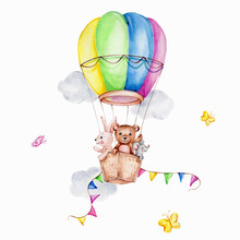 Cartoon Teddy Bear, Bunny And Mouse In Colorful Air Balloon And Clouds And Butterfly; Watercolor Hand Draw Illustration; Can Be Used For Baby Shower Or Kid Poster; With White Isolated Background