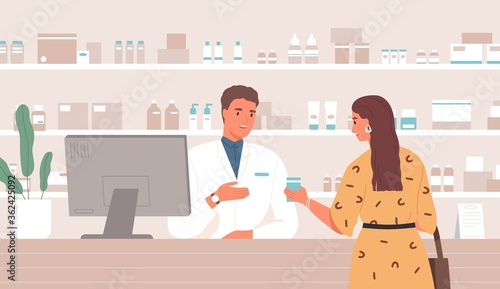 Fototapeta Smiling male pharmacist consulting female customer standing at counter in pharmacy vector flat illustration. Friendly woman buying remedy at drugstore. Client and druggist at pharmaceutical shop obraz