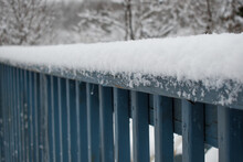 Freshly Fallen Snow On A Blue ...