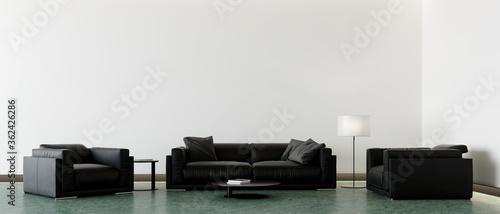 Fototapeta modern black leather sofa, armchairs, lamp and coffee table in front of the empty white mockup wall, 3D background illustration concept obraz na płótnie