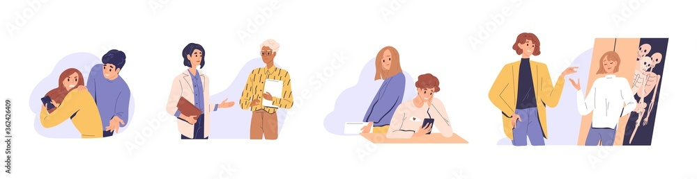 Fototapeta Distrust in people relationship. Concept of mistrust, betrayal, cheating on white background. Set of couples, business partners or colleagues talking, hiding, texting, jealous flat vector illustration