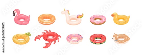 Set of rubber colorful inflatable stylish modern swimming ring for children and adults. Pink flamingo, bite donut, rainbow unicorn, crab inner tube in cartoon vector illustration on white background - 362427085