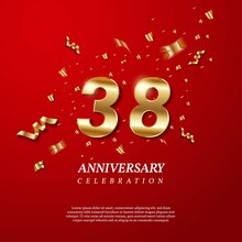 38th Anniversary Celebration. Golden Number 38 With Sparkling Confetti, Stars, Glitters And Streamer Ribbons On Red Background. Vector Festive Illustration. Birthday Or Wedding Party Event Decoration