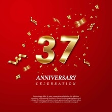 37th Anniversary Celebration. Golden Number 37 With Sparkling Confetti, Stars, Glitters And Streamer Ribbons On Red Background. Vector Festive Illustration. Birthday Or Wedding Party Event Decoration