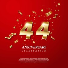 44th Anniversary Celebration. Golden Number 44 With Sparkling Confetti, Stars, Glitters And Streamer Ribbons On Red Background. Vector Festive Illustration. Birthday Or Wedding Party Event Decoration