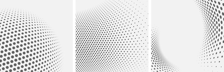 Set of dotted abstract forms. Grunge halftone vector background in black and white colors. Distressed overlay texture. Abstract pattern with circles, waves and swirls. Dot texture.