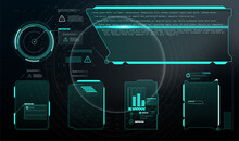 Set With Call Outs Communication. Abstract Control Panel Layout Design. Virtual Hi Scifi Technology Gadget Interface For Game App HUD, UI, GUI Futuristic Frame User Interface Screen Elements Set.