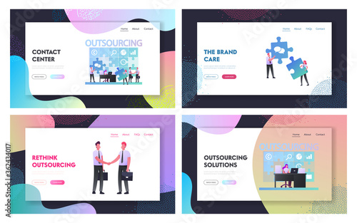 Fototapety, obrazy: Outsourcing Landing Page Template Set. Businesspeople Working at Huge Puzzle Put Pieces in empty Holes. Business Men Characters Shaking Hands. Outsourced Employees. Cartoon People Vector Illustration