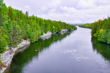 Trent River With Cloudy Skies In Campbellford, Ontario, Canada