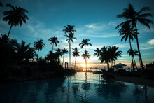 Silhouettes Of Palm Trees On The Sunset Tropical Beach.