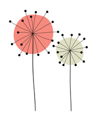 Fototapeta Dmuchawce Abstract Hand Drawn Dandelion flower. Vector Illustration