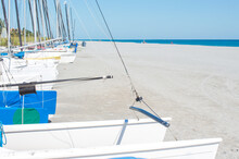 A Row Of Small Sailboats For R...