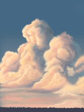 Digital Art, Landscape & Skyscape Painting, Sunset, Clouds, Evening Sky, Silhouette Horizon, Fantasy Art
