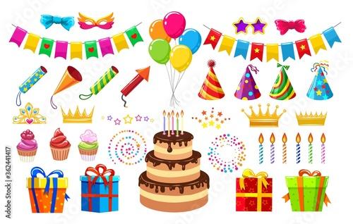 Fototapeta Birthday party items obraz