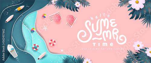 Fototapeta Summer banner design with paper cut tropical beach bright Color background.Paper art concept. obraz