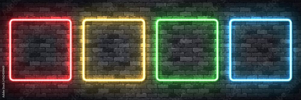 Fototapeta Vector set of realistic isolated neon sign of colorful square frame for template and layout on the wall background.