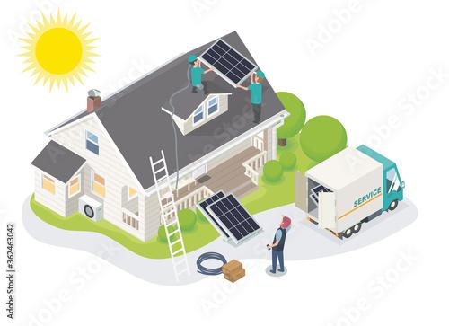 solar cell team service install for new customer isometric designed Fototapeta