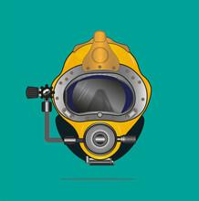 Yellow Diving Helmet Vector Dr...