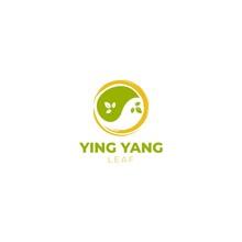 Ying Yang Leaf Logo Design Vector