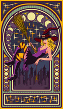 Sexy Witch With A Broom, Art Nouveau Style Card, Vector Illustration