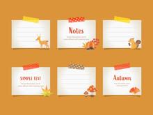 メモ, 紙, 秋, フレーム, テープ, イラスト, ベクター, ノート, デザイン, セット