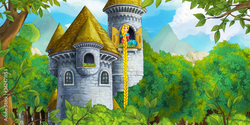 cartoon-scene-with-happy-princess-trapped-in-the-castle-illustration